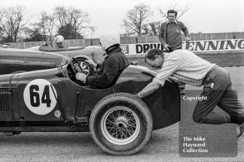 A Stirling gets a push start in his Norris Special, VSCC Donington May 1979