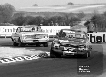 Frank Gardner, Alan Mann Ford Escort, reg no XOO 349F, and Terry Sanger, Ford Falcon, Thruxton Easter Monday meeting 1969.