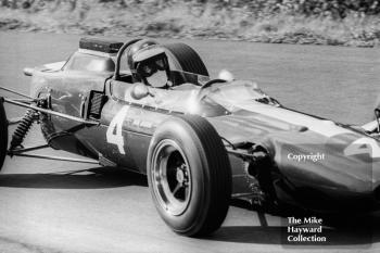 Jim Clark, F2 Ron Harris Lotus 35 Cosworth, brakes into Esso Bend, Oulton Park Gold Cup, 1965