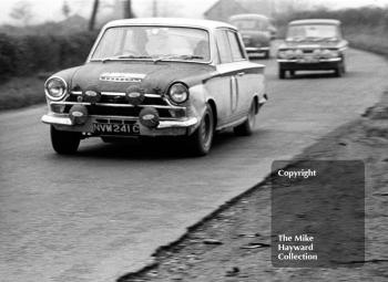 Jim Clark/Brian Melia, between stages in Shropshire, Mk 1 Lotus Cortina, NVW 241C, RAC Rally, 1966