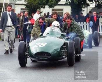 Rob Hall, Donington Collection Vanwall, gets a push out of the paddock for the Richmond and Gordon Trophies, Goodwood Revival, 1999.