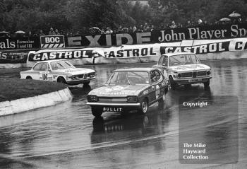 Dave Matthews, Broadspeed Ford Capri; John Bloomfield, Cronks Garage BMW 2002; and Roger Bell, BMW 2002; Castrol Production Saloon Car Championship Race, Mallory Park, 1972.