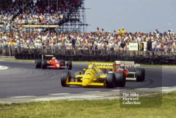 Ayrton Senna, Camel Lotus 99T at Copse Corner heading for 3rd place, British Grand Prix, Silverstone, 1987