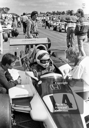 Geoff Lees, Ralt RH6/81, on the grid for the John Howitt F2 Trophy, Donington, 1981