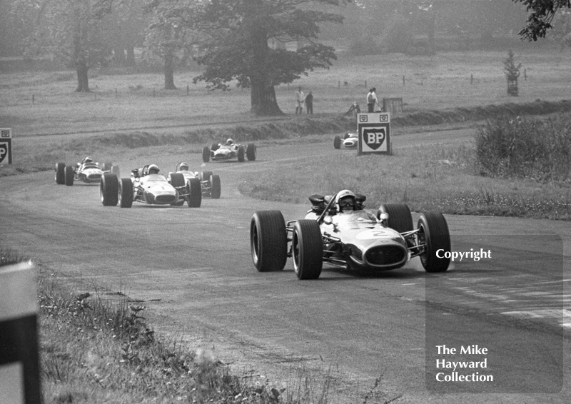 Frank Gardner, Repco Brabham BT19, aproaches Esso Bend in the Oulton Park Gold Cup, 1967.