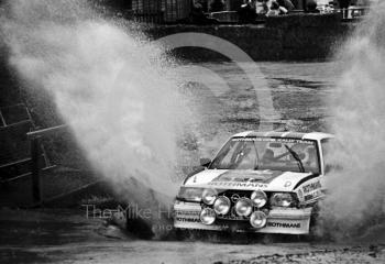 Ari Vatanen/Terry Harriman, Rothmans Opel Ascona 400, water splash, Sutton Park, RAC Rally 1982.