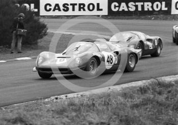 Mike Beckwith/Tony Dean, Ferrari Dino 206S, followed by Eric Liddell, William Bradley, Porsche 906, BOAC 500, Brands Hatch, 1968