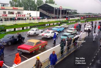 Cars line up on the grid for the St Mary's Trophy, Goodwood Revival, 1999