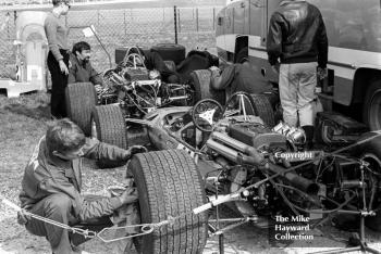 Matra MS7s of Jean-Pierre Beltoise and Henri Pescarolo in the paddock, Thruxton, Easter Monday 1968.