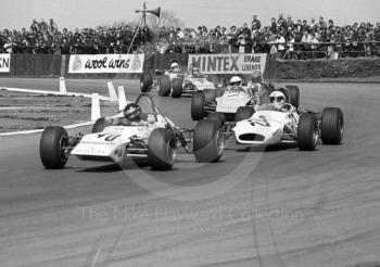 Sigi Hoffman, Lotus 69, and Peter Hull, Brabham BT28 and Tim Goss, March 713M, GKN Forgings Trophy, International Trophy meeting, Silverstone, 1971.