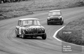 Alec Poole, Wolseley Hornet (SZJ 1), followed by Harry Ratcliffe, Mini, Redex Special Saloon Car Championship, BRSCC £1000 meeting, Oulton Park, 1967.