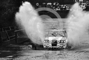 Mitsubishi (S 944 191), water splash, Sutton Park, RAC Rally 1982