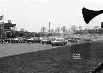 Frank Gardner, Ford Mustang, Brian Muir, Chevrolet Camaro, Chris Craft, Broadspeed Ford Escort, John Hine, Ford Escort, on the grid for the start of the race, Silverstone International Trophy meeting 1970.