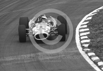 Silvio Moser, Charles Vogele Racing Team Brabham Repco, at Bottom Bend, Brands Hatch, 1968 British Grand Prix.