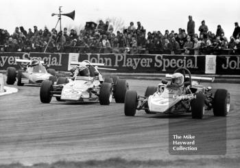 Valentino Musetti, Royale RP11 (14), leads Mike Tyrrell, Ensign LNF3 (36), and Matt Spitzley, March 713M/733 (7), in the GKN Forgings Trophy Race, Silverstone, 1973.