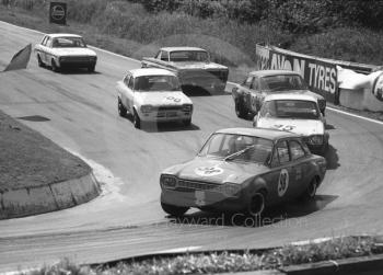Barry Pearson, Ford Escort, followed by Pat Mannion, Willy Kay and Robert Harris (VOY 673G) (Ford Escorts), Dennis Leech, Ford Falcon Sprint, and Brian Robinson, Lotus Cortina, British Saloon Car Championship race, BRSCC Guards 4,000 Guineas International meeting, Mallory Park, 1969.