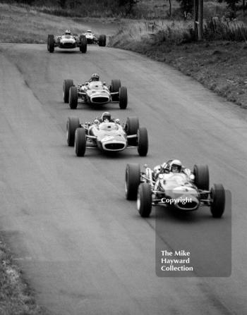 Jack Brabham, Repco Brabham BT19, Jackie Stewart and Graham Hill, BRM P83 H16; Denny Hulme, Repco Brabham BT20 and Jim Clark, Lotus Climax 33, Oulton Park, Gold Cup, 1966.