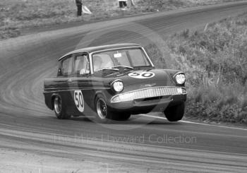 Chris Craft, Superspeed Conversions Ford Anglia, on three wheels before retiring on lap 17, Cascades Bend, Oulton Park Gold Cup meeting 1967.