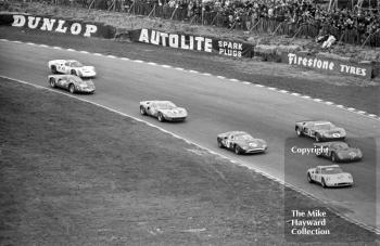 First lap at Paddock Hill Bend, BOAC 500, Brands Hatch, 1968. From the front, the cars and drivers are as follows:<br />