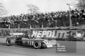 Peter Gethin, Chevron Racing Team B20, round 1 of the Formula 2 championship, Mallory Park, March 12, 1972. Gethin was disqualified in heat 2, due to his wing being too high.