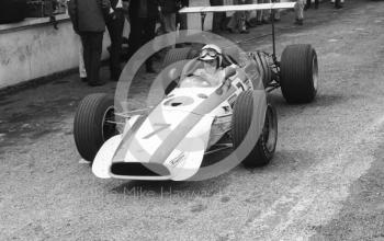 John Surtees leaves the pits in his Honda V12 RA301 during practice for the 1968 British Grand Prix at Brands Hatch.