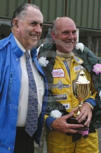 Jack Brabham presents trophy to Richard Attwood, Oulton Park Gold Cup, 2002