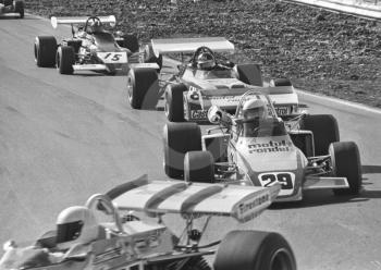Bob Wollek, Motul Brabham BT38-12; Adrian Wilkins, John Coombs March 722-15; and David Purley, Lec Refrigeration Racing March 722-10, Mallory Park, Formula 2, 1972.
