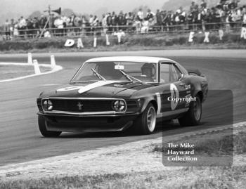 Frank Gardner, Motor Racing Research Ford Mustang Boss, at Copse Corner, Silverstone Martini Trophy meeting 1970.