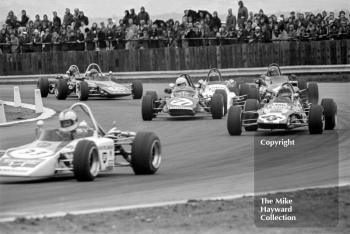 Roger Williamson, GRD 372, Barrie Maskell, Lotus 69, Conny Andersson, Brabham BT35, 1972 International Trophy, Silverstone.