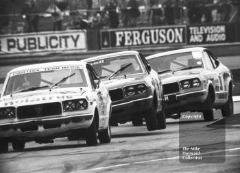 Alan Priest, Jean-Pierre Aux and Tony Lanfranchi, all driving Mazda RX3s, Britax Production Saloon Car Race, European F2 Championship meeting, Silverstone 1975.
