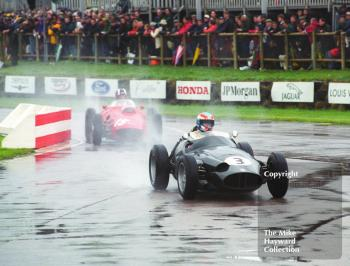 John Harper, BRM P25, and Nigel Corner, Ferrari 246 Dino, at the chicane during the Richmond and Gordon Trophies, Goodwood Revival, 1999.