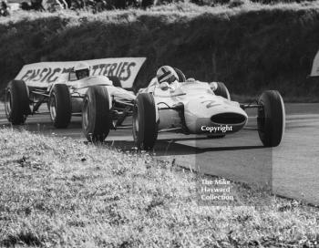 Bernard Collomb, Lotus 35, Cosworth ahead of Brian Hart's Lotus 35, at Knickerbrook, Oulton Park Gold Cup, 1965