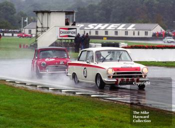 Gerry Marshall, Lotus Cortina Mk 1, and John Rhodes, Mini Cooper S, Goodwood Revival, 1999.