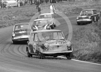 Steve Neal, Equipe Arden Mini Cooper S, LBF 595D, followd by Chris Craft, Ford Anglia, and John Rhodes, Mini, Oulton Park Gold Cup meeting, 1967.