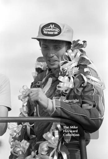 Geoff Lees after winning the John Howitt F2 Trophy, Donington, 1981.