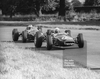 Alan Rees, Roy Winkelmann Brabham BT16 Cosworth leads the works Brabham BT16 of Denny Hulme, Oulton Park Gold Cup, 1965