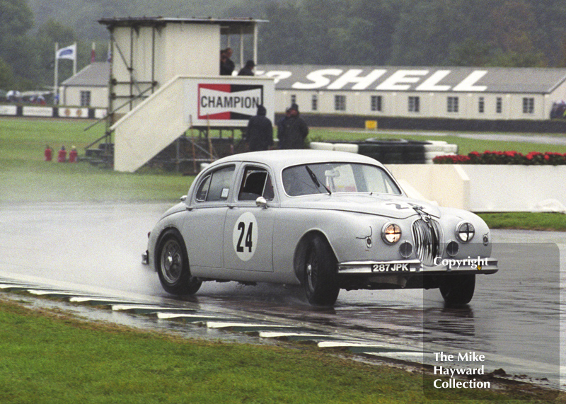 Grant Williams, Jaguar 3.4, sideways at the chicane, St Mary's Trophy, Goodwood Revival, 1999