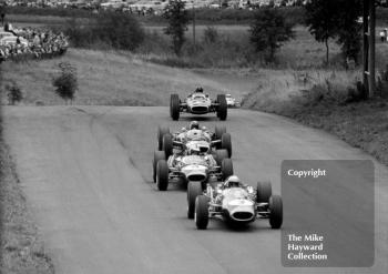 Jack Brabham, Repco Brabham BT19, Denny Hulme, BT20, Jackie Stewart, BRM P83 H16, Graham Hill, P83 H16 and Jim Clark, Lotus Climax 33, 1966 Gold Cup, Oulton Park.