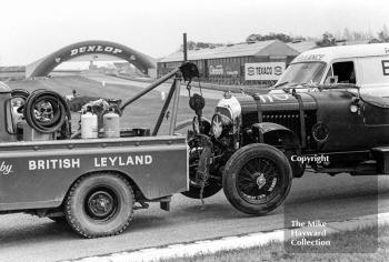 The 1928 Bentley of S Judd heads back to the paddock after an excursion at the chicane, VSCC Donington May 1979