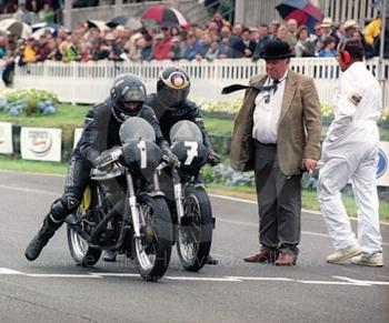 Damon Hill and Barry Sheene on Manx Nortons leave the grid for the Lennox Cup race, Goodwood Revival, 1999