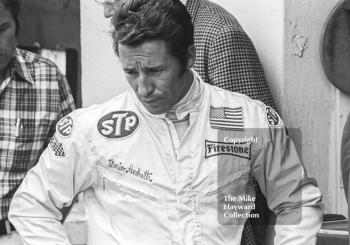 Mario Andretti in the pits, British Grand Prix, Brands Hatch, 1970