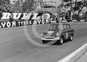 Mike Young, Superspeed Conversions Ford Anglia 1198cc, winning the Slip Molyslip Trophy B race, average speed 74.58mph, BRSCC National meeting, Mallory Park, June, 1963