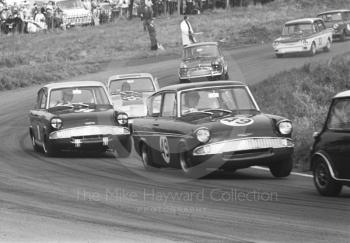Nick Brittan, Superspeed Ford Anglia, leading John Fitzpatrick, Broadspeed Ford Anglia and Alan Peer, East Anglian Racing Ford Anglia, Oulton Park Gold Cup meeting, 1967.